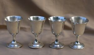 A Set Of 4 Wallace Sterling Silver 4 1 8 H Water Goblets Pattern 24