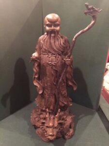 Chinese Bronze Statue Of An Immortal 20 Tall Dragon Base And Scepter