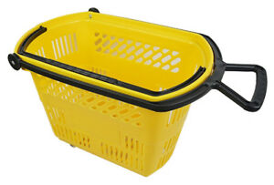 Plastic Rolling Grocery Shopping Basket Pull Handle Store Yellow Lot Of 6 New