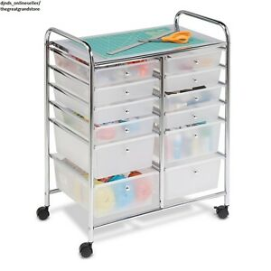 Cart Storage Rolling Office Craft Supplies Tools Art Scrap Mobile Utility Wheels