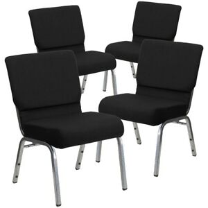 4 Pk Hercules Series 21 Extra Wide Black Fabric Stacking Church Chair