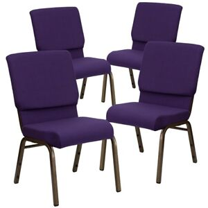 4 Pk Hercules Series 18 5 w Royal Purple Fabric Stacking Church Chair With
