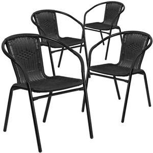 4 Pk Black Rattan Indoor outdoor Restaurant Stack Chair