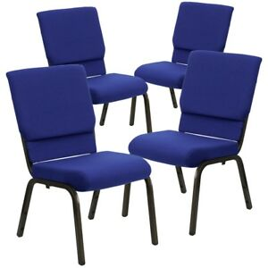4 Pk Hercules Series 18 5 w Navy Blue Fabric Stacking Church Chair With 4