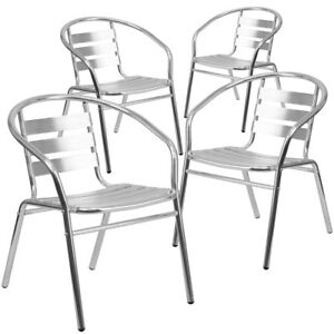 4 Pk Aluminum Commercial Indoor outdoor Restaurant Stack Chair With Triple