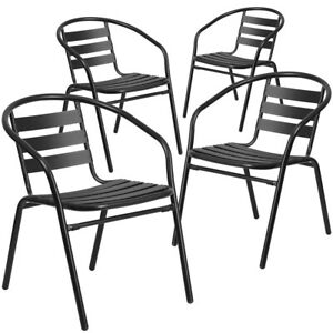 4 Pk Black Metal Restaurant Stack Chair With Aluminum Slats
