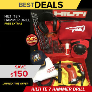 Hilti Te 7 Hammer Drill Preowned Free Hilti Bag Extras Bits Fast Ship