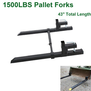 43 1500lb Clamp On Pallet Bucket Forks Loaders Tractor Chain W stabilizer Bar