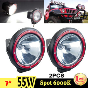 2x 7inch 55w 6000k Hid Xenon Work Light Spot Off Road Offroad Atv Suv Truck Boat