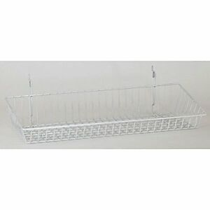 Wire Sloping Basket Slatwall Gridwall Pegboard Display Retail Lot Of 6 White New