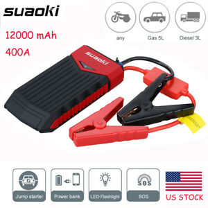 Suaoki 12000mah 12v Car Jump Starter Booster Portable Battery Charger Power Bank
