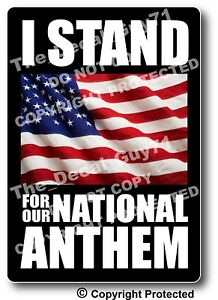 Stand National Anthem Bumper Sticker Decal Us Flag I Stand Sticker