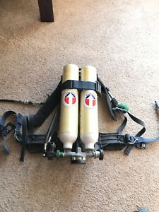 Survivair Scba Low pro Hp30 Dual 15 Minute Tank Harness Great Shape