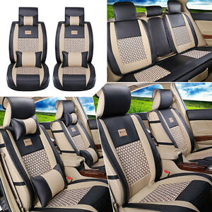Us Pu Leather cooling Mesh Car Seat Cover Front rear 5 Seats Cushion W pillows