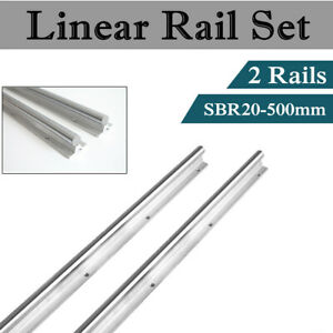 2x Sbr20 500mm Guide Linear Rail Shaft Rod For Cnc Fully Supported