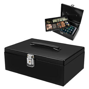 Cash Box With Money Tray Lock Latch Steel For Cashier Drawer Money Safe Security