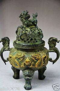 Chinese Ingeious Bronze Hand Made Dragon Incense Burner As386
