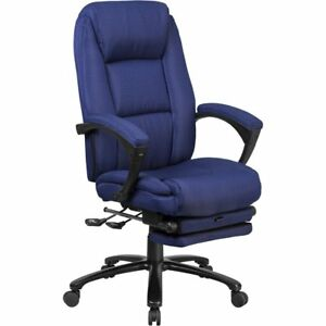 High Back Navy Fabric Executive Reclining Swivel Office Chair With Comfort