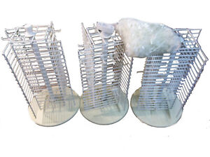 B88 Lot Of 3 21 White Metal Spinning Jewelry Earring Tree Display Stand 21in