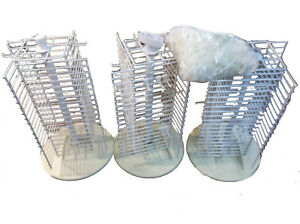 Lot Of 3 21 White Metal Spinning Jewelry Earring Tree Display Stand 21in