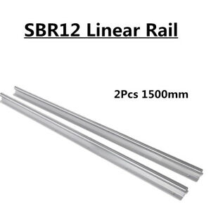 2 Fully Supported Linear Rail Sbr12 1500 Shaft Rod Slide Guide For Cnc