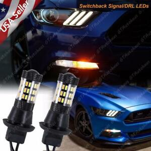 Switchback White amber Led Kit Drl turn Signal Lights For Ford Mustang 2015