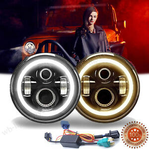 For Jeep Patriot Liberty 7 inch Led Round Halo Angel Eyes Headlights Lamp H4 h13