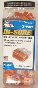 New 250 Pack Ideal In sure 3 port Orange Push In Wire Connectors 30 1033j