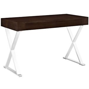 Sector Modern Office Desk With Wood Top Stainless Steel Frame Walnut