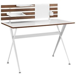 Knack Wooden Office Desk With Slatted Back And Steel Base Cherry