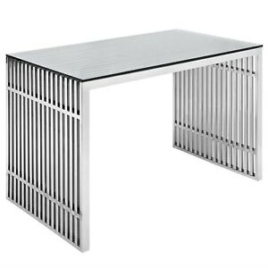 Gridiron Modernistic Stainless Steel Office Desk With Glass Top Silver