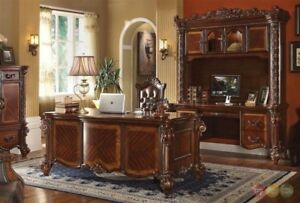 Vendome Executive Italian 4pc Home Office Set W Carved Wood In Rich Cherry