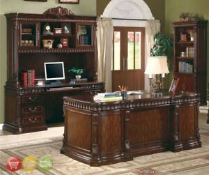 4 Pc Traditional Office Furniture Set Executive Desk Credenza Hutch