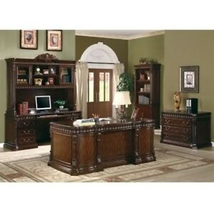 Executive Desk Credenza Hutch File Cabinet 4 Pc Traditional Office Furniture Set