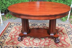 C 1900 American Empire Solid Mahogany Writing Desk Table One Drawer Lion Feet