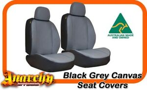 Front Black Grey Canvas Seat Covers For Ford Falcon Fg Sedan G Series 5 2008 On