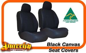 Front Black Canvas Seat Covers For Ford Falcon Ba Bf Wagon Xt 9 2002 On