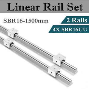 2x Sbr16 1500mm Linear Rail 4 Sbr16uu Block Fully Supported Shaft Rod Cnc