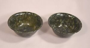 Pair Of Beautiful Circa 1900 Spinach Jade Chinese Bowls