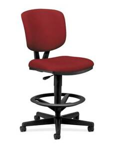 Hon Volt Task Stool Extended Height Footring Crimson Fabric