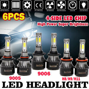 For Honda Accord Hi Low Beam Fog Led Car Headlight Bulbs 600w 9005 9006 H11 Kit