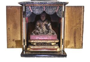 Japanese Butsudan Buddhist Altar Shrine 18 19th Century Black Lacquer Cabinet