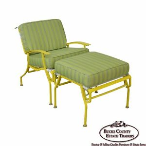 Mid Century Modern White Yellow Vinyl Strap Patio Lounge Chair W Ottoman