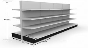 Streeter Gondola Retail Shelving 2 18 Lengths W end Cap Shelves New Low Price