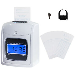 Electronic Recorder Time Punch Clock Lcd Display W card Monthly weekly bi weekly