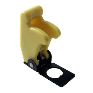 2 Yellow Flip Up Toggle Switch Guard Safety Cover Aircraft Style Uk Made