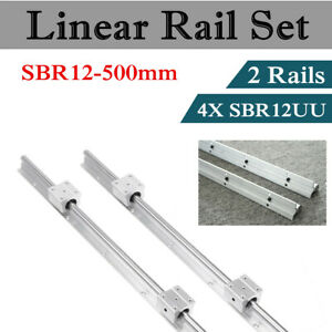 Sbr12 500 Shaft Rod Rail 12mm 2pc Linear Motion Fully Supported With 4 Sbr12uu