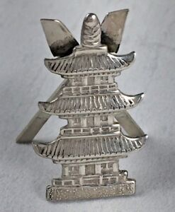 Vintage Japanese 950 Sterling Traditional House Place Card Holder