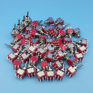 50pcs Sh T8011 6pin Dpdt 2position On on Maintained Mini Toggle Switch