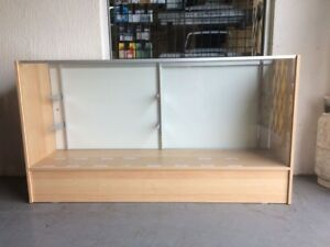 6 Full Vision Retail Glass Display Case In Light Wood Color